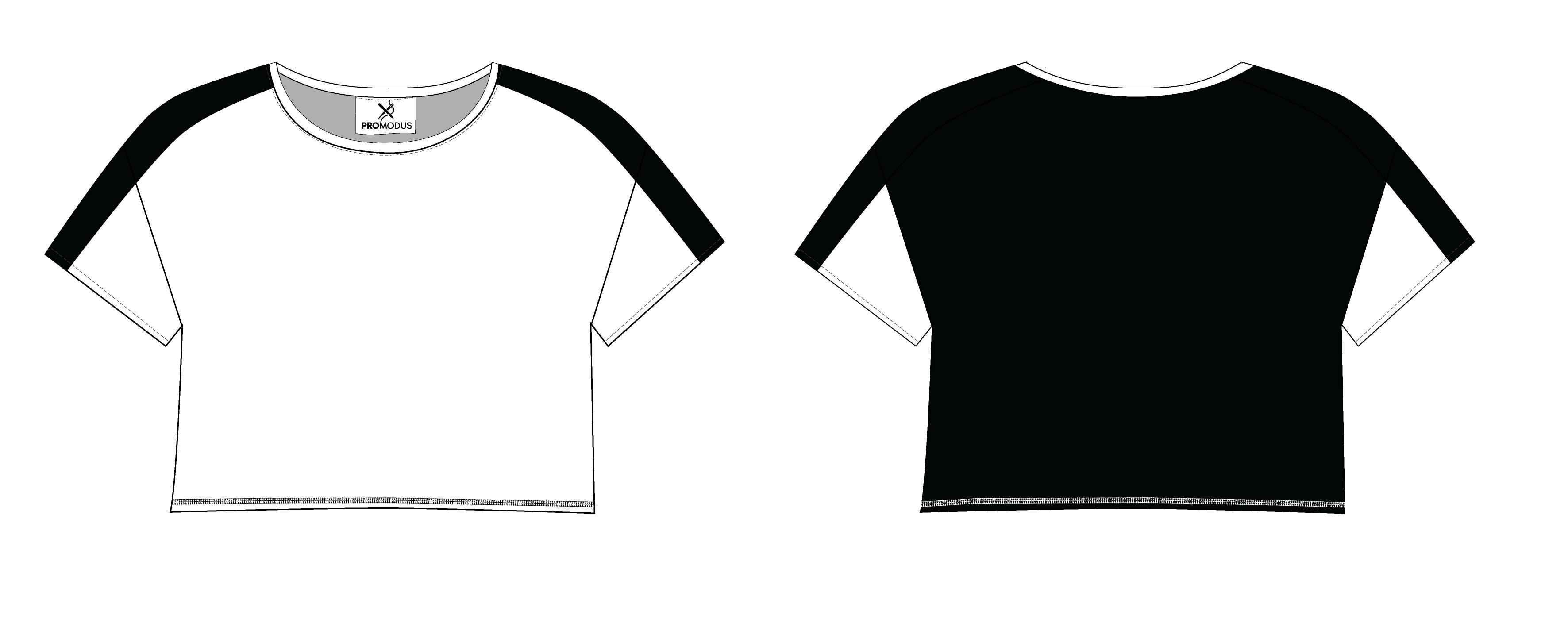 Футболка женская комбинированная Krop-top